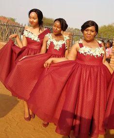 African Bridesmaid Dresses, Satin Bridesmaid Dresses, Wedding Dresses, Bridesmaids, Seshweshwe Dresses, Nice Dresses, Zulu Traditional Attire, Zulu Wedding, Engagement Dresses