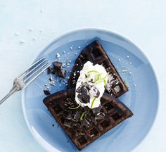 These chocolate waffles make an indulgent breakfast or mouthwatering dessert Chocolate Waffles, Like Chocolate, One Pot Dishes, Dessert Recipes, Desserts, Vanilla Sugar, 30 Minute Meals, Melted Butter, Easy Peasy