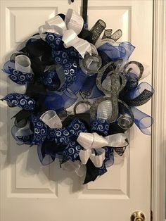 Navy and black mesh wreath