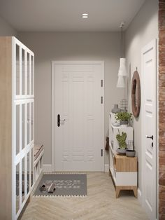 Stylish Apartment Redesign in Minsk Colores blanco,gris,madera Home Upgrades, House Design, Minimalist Apartment Decor, Stylish Apartment, Interior, Home, Mudroom Design, Interior Design News, Apartment Redesign