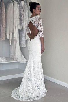 Long Sleeve Lace Open Back Mermaid Wedding Dresses, 2018 Long Custom Wedding Gowns, Affordable Bridal Dresses, 17117 #laceweddingdresses