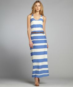 Nell baby blue and cream striped silk belted 'Shane' maxi dress