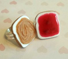 strawberry peanut butter and jelly best friend rings bff, polymer clay