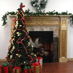 NorthLight 6 ft PreLit Pop Up Decorated Red Gold Artificial Christmas Tree  Clear Lights ** You can get additional details at the image link.