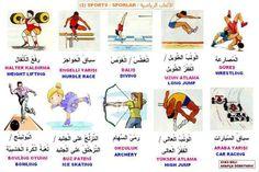 Sports in arabic - الرياضة Turkish Language, Arabic Language, Arabic Sentences, Learn Arabic Online, Improve Your Vocabulary, Arabic Lessons, Learn Turkish, Arabic Alphabet, Rc Hobbies