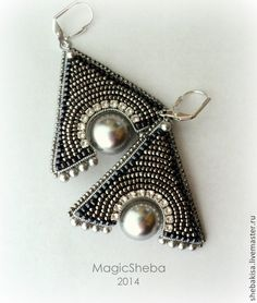 "Beaded triangular earring / Купить Серьги ""Мистика"" - серебряный, темное серебро, серьги-треугольники, треугольные серьги, серьги"