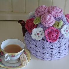 Decorated flowery tea cosy