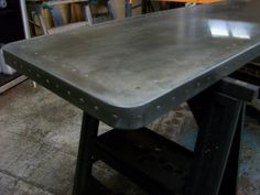 68 - Light Patina Table top with Aged Rivet Detail