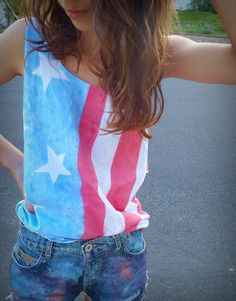American flag tank. 4th of july