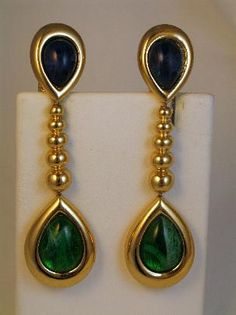 Big Bold Christian Dior Drop Faux Saphire and Emerald Earrings