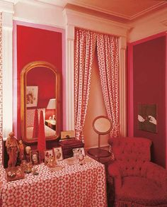 The Peak of Chic® Red Decor, Decor, Bedroom Red, Red Interiors, Interior, Apartment Design, Beautiful Interiors, Home Decor, Small Apartment Design