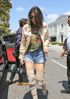 Pin for Later: Kendall Jenner Just Styled Her Cutoffs in the  Sexiest Way Possible She Also Wore a Graphic Tee and a Light Embellished Jacket