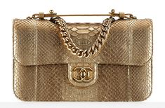 Chanel Python Flap Bag Gold Handbags - Fall-Winter 2014/15 Pre-Collection - CHANEL