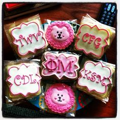 Monogram, mascot, and letter cookies for Big/Lil reveal