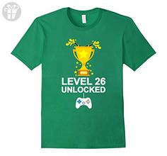 Mens Funny 26th Birthday Level 26 Unlocked T-shirt Gamer Gift Tee Medium Kelly Green - Birthday shirts (*Amazon Partner-Link)