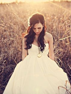 gorgeous dress and hair #wedding