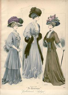 Fashion Plate - De Gracieuse, 1907 1900s Fashion, Edwardian Fashion, Vintage Fashion, Modern Sewing Projects, Fashion Illustration Vintage, Fashion Illustrations, Edwardian Era, Historical Clothing, Fashion Plates