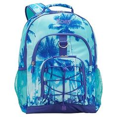 $97 Pottery barn Aqua Floral Palm BACKPACK bag+Large Water Bottle Ice pack girl