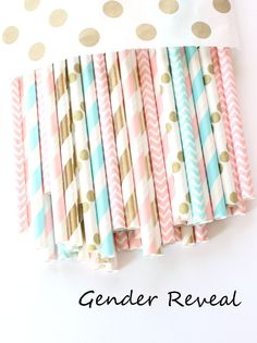 Gender reveal straws-set of gender reveal party, pink, blue and gold straws… Confetti Gender Reveal, Baby Gender Reveal Party, Gender Party, Baby Shower Candy, Baby Shower Favors, Baby Shower Themes, Baby Showers, Shower Ideas, Gender Reveal Party Decorations