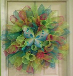 My first curly deco mesh wreath!! :)