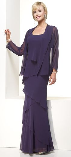 Casual Purple Chiffon Bride Dress For Mother Layed Scoop Neckline