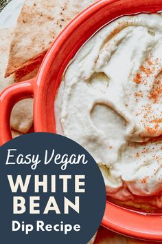 This white bean dip recipe is so easy to make! It comes together in minutes and has bright citrus flavors. Perfect for a vegan snack, appetizer, or party. Gluten-free and dairy-free #beandip #whitebeandip #beandiprecipe Bean Dip Recipes, Herb Recipes, Easy Pasta Recipes, Vegan Recipes, White Bean Dip, White Beans, Vegan Snacks, Healthy Snacks, Dairy Free