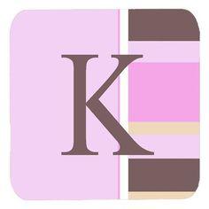 Set of 4 Monogram - Pink Stripes Foam Coasters Initial Letter K