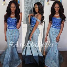 Shades of blue in ankara ~African fashion, Ankara, kitenge, African women… African Dresses For Women, African Wear, African Fashion Dresses, African Women, African Outfits, African Style, African Clothes, African Attire, Ankara Long Gown Styles