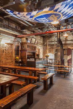 Radegast Hall & Biergarten, Brooklyn on Behance Outdoor Restaurant Patio, Rustic Restaurant, Restaurant Design, Restaurant Ideas, Brewery Design, Pub Design, Lounge Design, Sport Bar Design, Beer Shop
