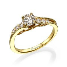 Curved Engagement Ring 14k yellow Gold With by gispandiamonds