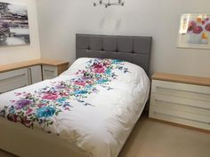 Cream gloss bedroom furniture on an oak finish. Completed with a grey headboard. Fitted Bedroom Furniture, Fitted Bedrooms, Office Furniture, Bespoke Furniture, Furniture Design, Grey Headboard, Flooring, Cream, Home Decor