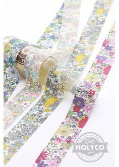 Serena Flower Printed Fabric Ribbon / 1cm0.39 2.5cm1 by HOLYCO