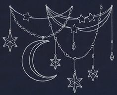 Let this light-stitching drape of moon and stars fall on pillows, shirt necklines, and more for a truly celestial look!