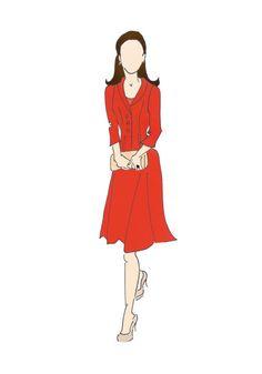 "Royal Tour Canada Duchess of Cambridge Kate Middleton Fashion Print 8.5""x11"" Catherine Walker Red Coat"