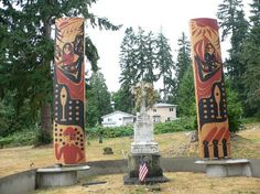 Grave Marker- Chief Seattle, Native American leader. He died in 1866, on the Suquamish reservation at Port Madison, Washington.