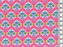 Flora: tricot kleine bloemetjes op roze - kleurenmix