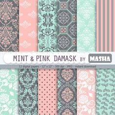 Papel digital de Damasco: Menta y Damasco rosa con por MashaStudio