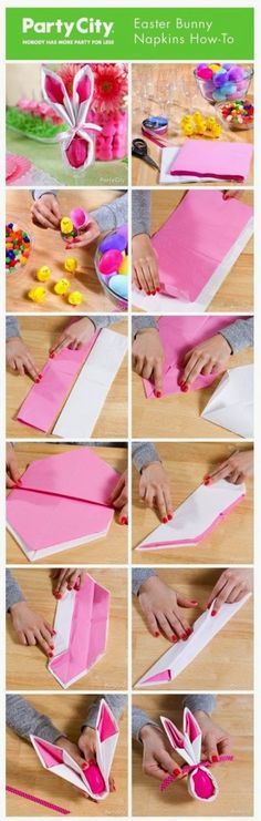 Easter Bunny Napkin How-To ~ make adorable pink and white Easter bunny napkins that double as candy favors. Tutorial with step by step how-to photos. Hoppy Easter, Easter Bunny, Easter Eggs, Spring Crafts, Holiday Crafts, Holiday Fun, Easter Party, Easter Table, Easter Dinner