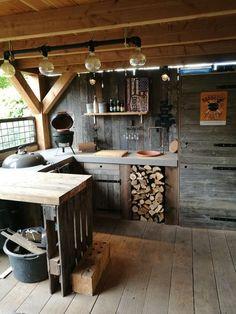 Rustic Outdoor Kitchens, Outdoor Kitchen Bars, Backyard Kitchen, Summer Kitchen, Outdoor Kitchen Design, Backyard Patio, Kitchen Decor, Kitchen Rustic, Outdoor Cooking Area
