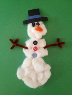 cotton ball snowman craft.