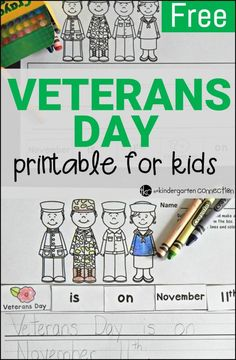 A free Veterans Day activity for kids to work on cutting, pasting, and printing! Looking for some resources to help young ones learn about Veterans Day? Start with this free printable (and work on early reading and writing skills too! Kindergarten Social Studies, Kindergarten Freebies, Kindergarten Writing, Kindergarten Activities, Writing Activities, Writing Skills, Veterans Day For Kids, Free Veterans Day, Veterans Day Activities