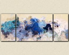 "Large abstract expressionism triptych canvas print, to giclee in blue, from abstract painting ""The Blues Sometimes"" Stretched Canvas Prints, Canvas Art Prints, Abstract Expressionism, Abstract Art, Abstract Photography, Etsy, Art Paintings, Abstract Paintings, Artwork"