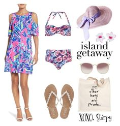 Island Getaway Style by starspy on Polyvore featuring Lilly Pulitzer, Dorothy Perkins, M&Co, Prada, Linda Farrow and Accessorize