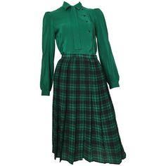 Oscar de la Renta 1980s Silk Striped Blouse & Plaid Pleated Skirt Size 4.  @1stidbs #OscardelaRenta #1980s #blouse #skirt #silk #vintage #fashion #shopping #forsale #style #luxury