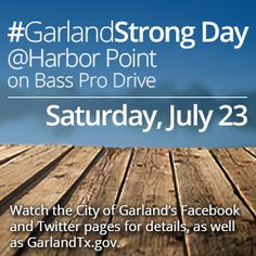 Have a great meal and support Garland residents who are working to rebuild after the December tornadoes. On Saturday, July 23, visit Texas Land & Cattle, Primo's and the Flying Saucer to help raise funds for the #GarlandStrong campaign. These restaurants, located in the Harbor Point development on Bass Pro Drive, will donate a portion of their July 23 sales proceeds to support #GarlandStrong.