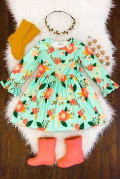 Cara Floral Bell Sleeve Dress