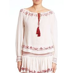 LOVESHACKFANCY Thea Embroidered Blouse (6190125 BYR) ❤ liked on Polyvore featuring tops, blouses, apparel & accessories, white, long sleeve peasant blouse, white top, keyhole blouse, white long sleeve blouse and white tie blouse