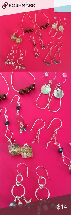 Bundle earrings Bundle of 6 pairs of earrings.  Assorted colors, styles. All handcrafted with silver plated wire and chain, natural gemstones, silver toned beads, glass pearls, shells.  All are clean and sanitized. Jewelry Earrings