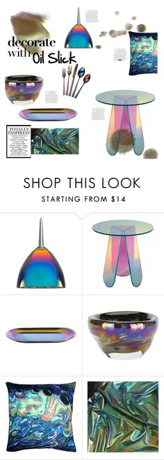 """""""Decorate with Oil Slick"""" by chakragoddess ❤ liked on Polyvore featuring interior, interiors, interior design, home, home decor, interior decorating, Bruck, HAY, Tom Dixon and Pillow Decor"""