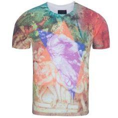 Printed T-Shirt,Violets Field Brush Strokes Fashion Personality Customization
